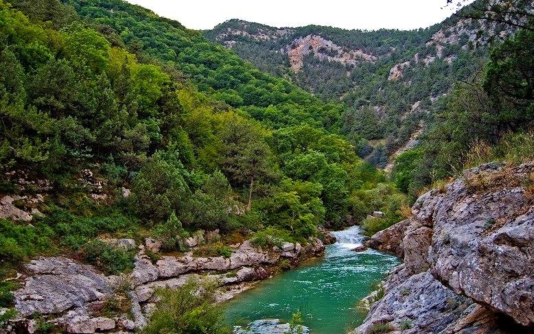 Бурный поток в прижимах Чернореченского каньона